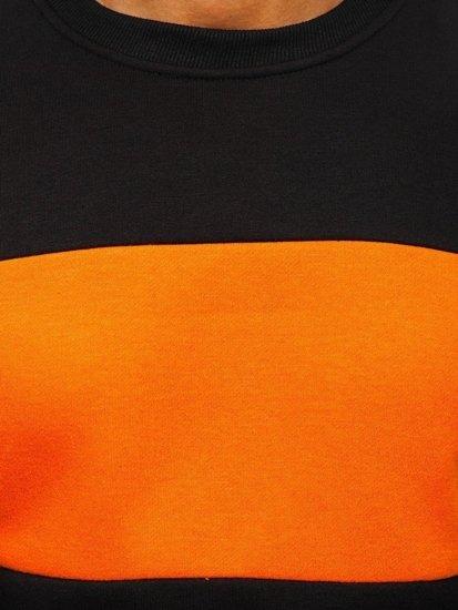 Černo-oranžová pánská mikina bez kapuce Bolf 2010