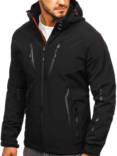 Černo-oranžová pánská softshellová přechodová bunda Bolf 5612