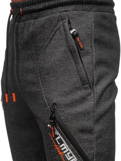 Černo-oranžové pánské tepláky Bolf Q1041