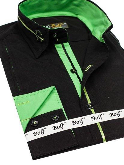 Černo-zelená pánská elegantní košile s dlouhým rukávem Bolf 2964
