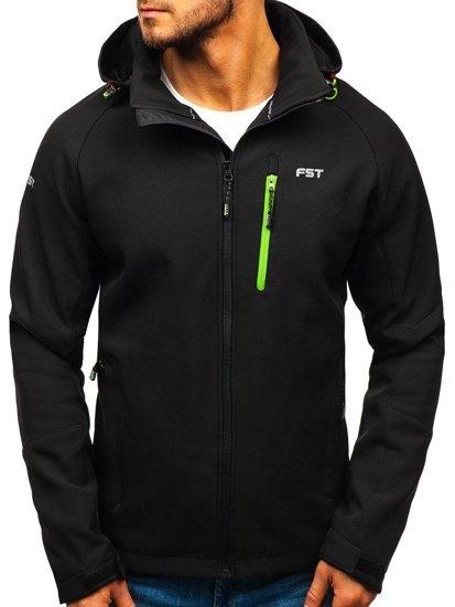 Černo-zelená pánská softshellová bunda Bolf 107A
