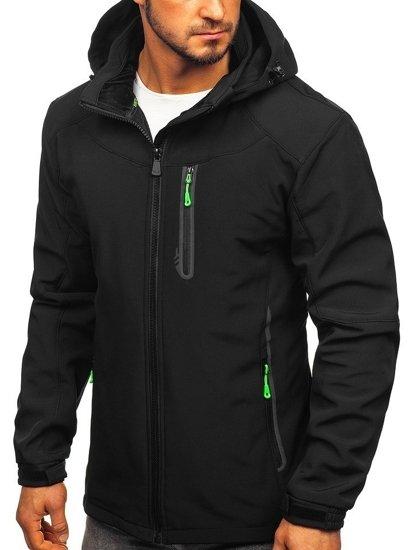 Černo-zelená pánská softshellová bunda Bolf 12269