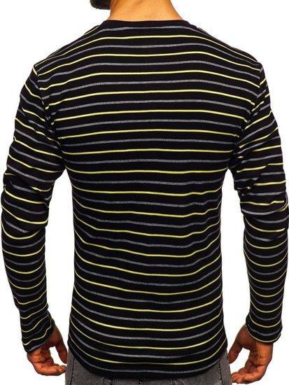 Černo-žluté pánské proužkované tričko s dlouhým rukávem Bolf 1519