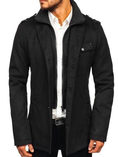Černý pánský kabát Bolf 8853