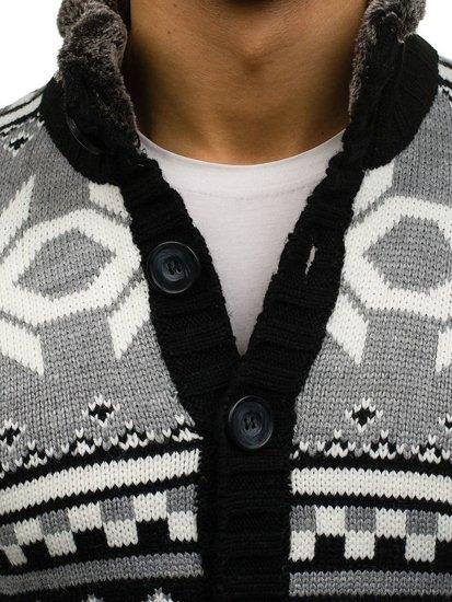 Černý pánský propínací svetr Bolf 585