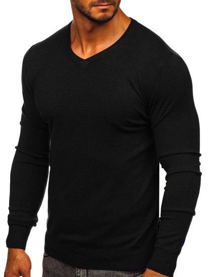 Černý pánský svetr s výstřihem do V Bolf YY03