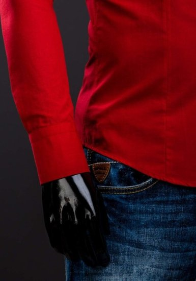 Červená pánská elegantní košile s dlouhým rukávem Bolf 1703A