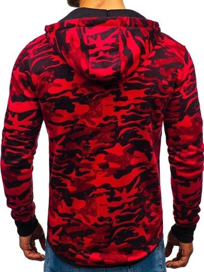 Červená pánská maskáčová mikina na zip s kapucí Bolf DD99-1