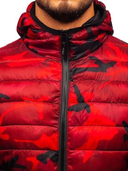 Červená pánská maskáčová sportovní přechodová bunda Bolf LY1001-1