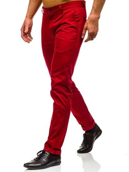 Červené pánské společenské kalhoty Bolf 0204