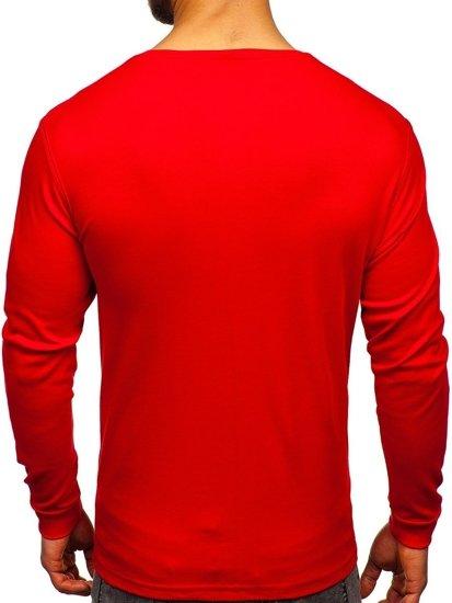 Červené pánské tričko s dlouhým rukávem bez potisku Bolf 145359