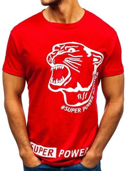 Červené pánské tričko s potiskem Bolf 10820