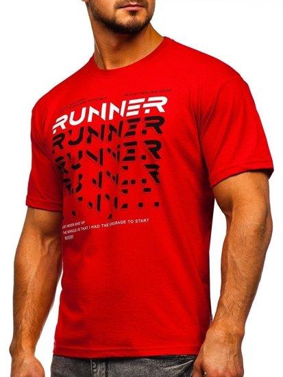 Červené pánské tričko s potiskem Bolf 14336