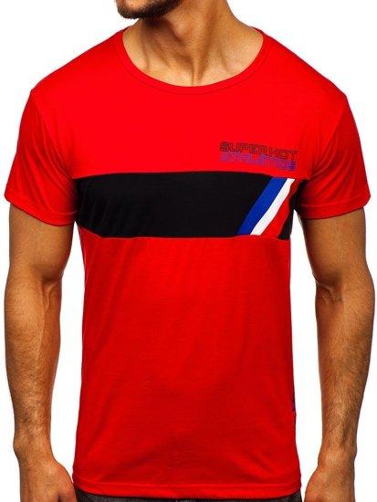Červené pánské tričko s potiskem Bolf KS1957