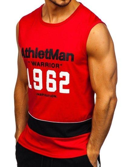 Červené pánské tričko s potiskem Bolf SS11081