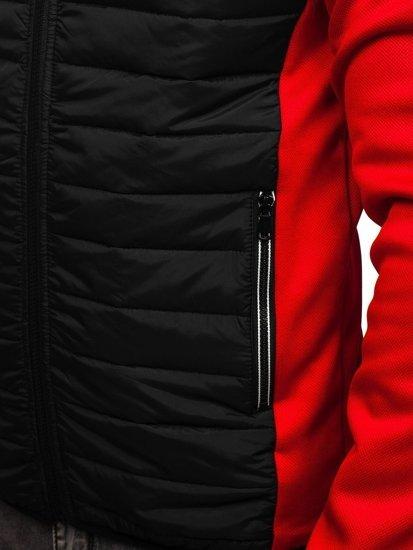 Červeno-černá pánská sportovní přechodová bunda Bolf KS1882