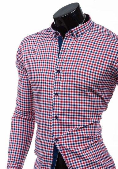 Červeno-tmavě modrá pánská kostkovaná košile s dlouhým rukávem Bolf 2145