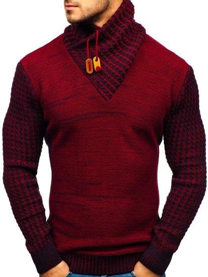 Červený vzorovaný pánský svetr Bolf 2010