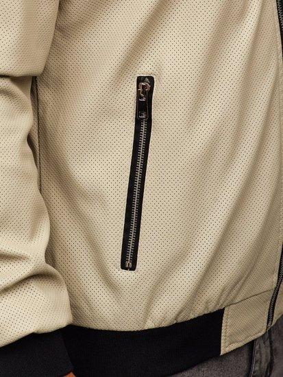 Ecru pánská koženková bunda Bolf 6124