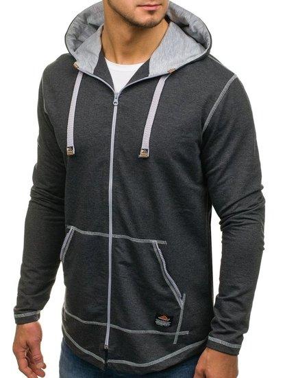 Grafitová pánská dlouhá mikina na zip s kapucí Bolf 0364