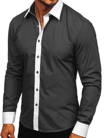 Grafitová pánská elegantní košile s dlouhým rukávem Bolf 6882