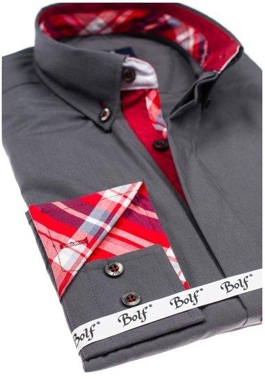 Grafitová pánská elegantní košile s dlouhým rukávem Bolf 6930