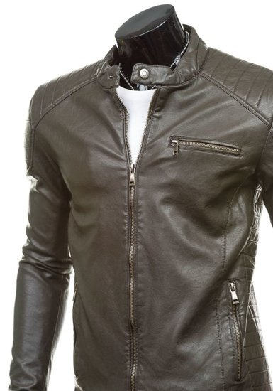 Grafitová pánská kožená bunda z ekokůže Bolf 8816