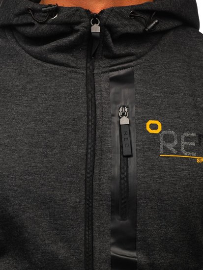 Grafitová pánská mikina na zip s kapucí Bolf 80502