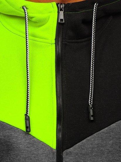 Grafitová pánská mikina na zip s kapucí Bolf KS2172