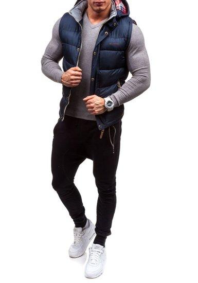 Grafitová pánská vesta s kapucí Bolf K020