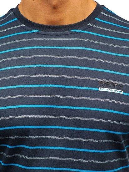 Grafitové pánské proužkované tričko s dlouhým rukávem Bolf 1519-1
