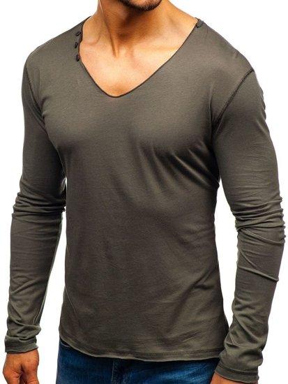 Grafitové pánské tričko s dlouhým rukávem bez potisku Bolf 547
