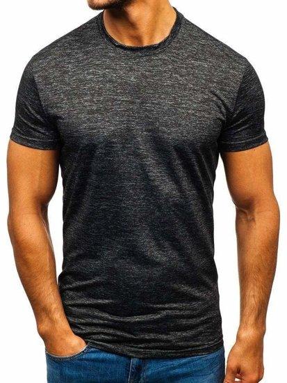 Grafitové pánské tričko bez potisku Bolf S01