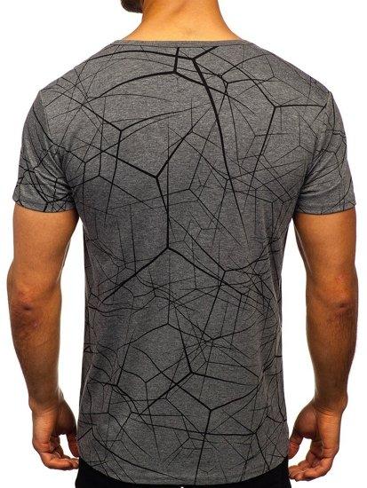 Grafitové pánské tričko s potiskem Bolf SS10935