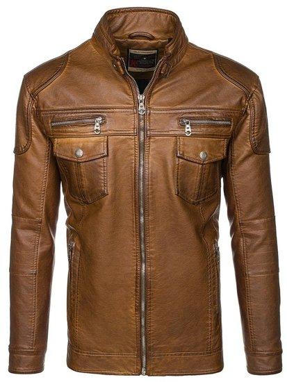 Hnědá pánská kožená bunda z ekokůže Bolf EX282