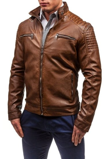 Hnědá pánská kožená bunda z ekokůže Bolf EX306
