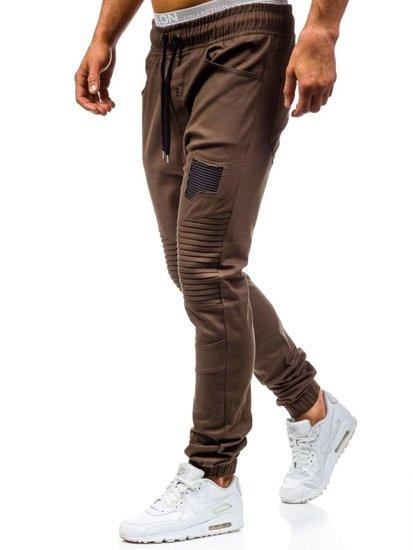 Hnědé pánské jogger kalhoty Bolf 0829