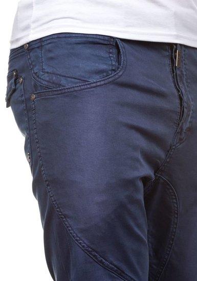 Inkoustově modré pánské textilní kalhoty Bolf 8381
