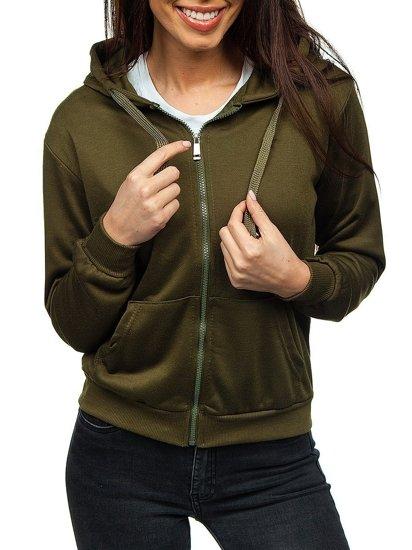 Khaki dámská mikina s kapucí Bolf WB1005