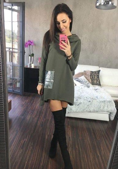 Khaki dámský svetr tunika Bolf 02
