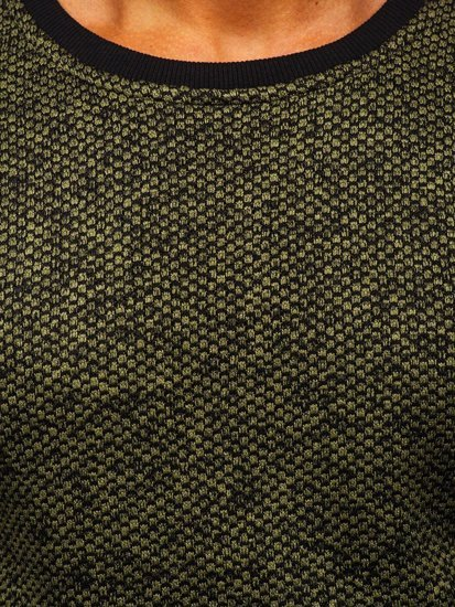 Khaki pánská mikina bez kapuce Bolf 2001-3