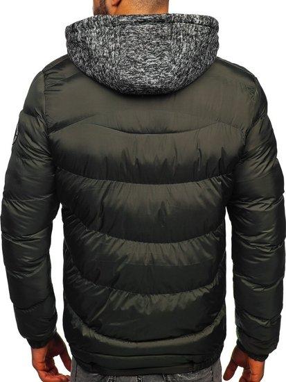 Khaki pánská prošívaná sportovní zimní bunda Bolf 50A155