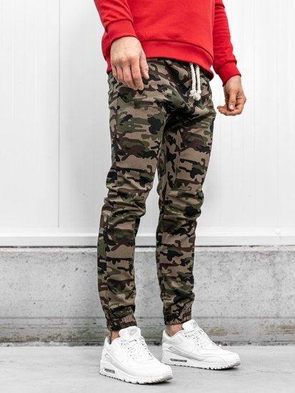 Khaki pánské maskáčové jogger kalhoty Bolf 0367