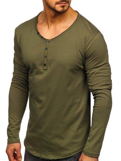 Khaki pánské tričko s dlouhým rukávem bez potisku Bolf 5059