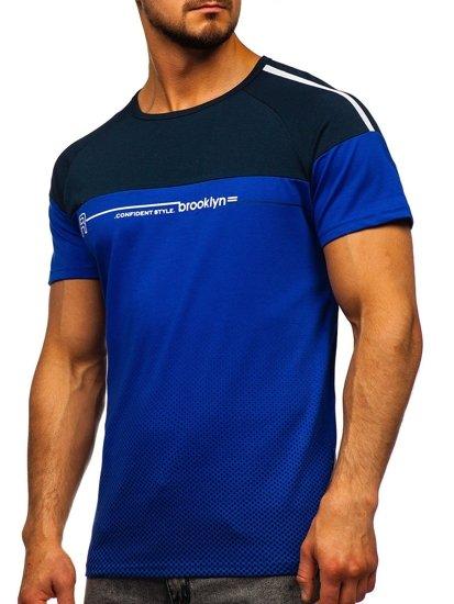 Kobaltové pánské tričko s potiskem Bolf SS10955