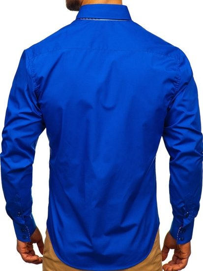 Královsky modrá pánská elegantní košile s dlouhým rukávem Bolf 0926