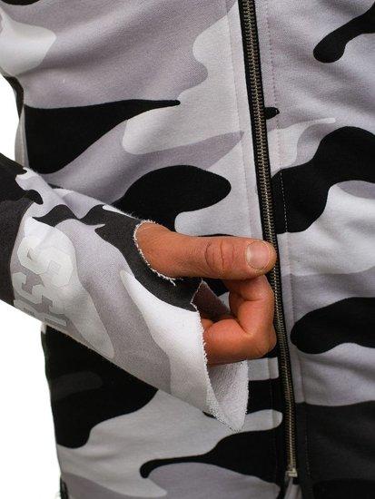 Maskáčovo-bílo-černá pánská mikina s kapucí a potiskem Bolf 0796