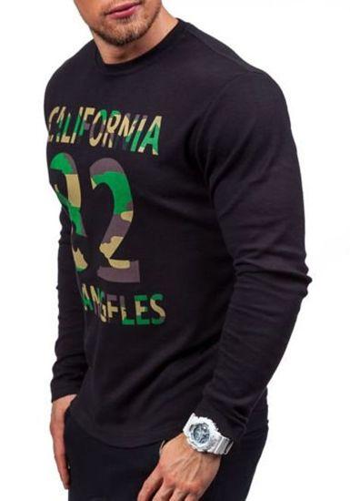 Maskáčovo-černé pánské tričko s dlouhým rukávem a potiskem Bolf 4630