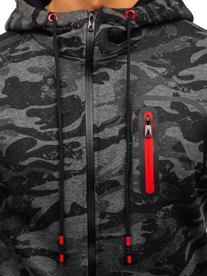 Maskáčovo-grafitová pánská mikina na zip s kapucí Bolf 33012