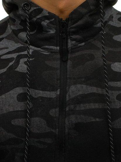 Maskáčovo-grafitová pánská mikina na zip s kapucí Bolf DD133